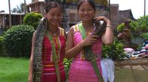 Chinese Women Holding Snakes In Entertainment Park
