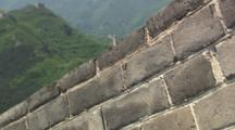 Beijing China Chinese Great Wall Tilt Past Wall To Wide Shot