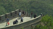 Beijing China Chinese Tourists Great Wall Push To Medium Shot