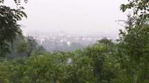 China Chinese Tilt Up From Forest To Reveal City View
