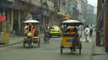 China Chinese City Street Rickshaw Riding Bicycles Industrialization Traffic Auto Industry