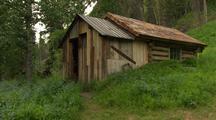 Interior Alaska Log Cabin In Wilderness Rustic Summer Green