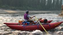 Rafter Rowing Down River Outdoor Adventure Interior Alaska Toursim