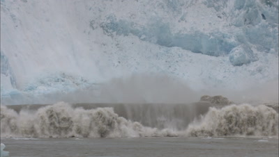 Large Glacier Calving Genterating Powerful Wave Alaska Glacier Calving Ice Falling Global Warming Climate Change Sea Rise Melting Arctic