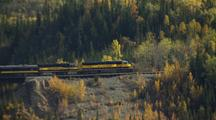 Alaska Train Crossing Bridge Over Gorge, With Fall Colors