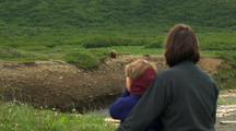 Grizzly Bear Walking Through Grass And Alder Pull To Reveal Hikers Watching