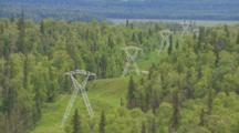 High Tension Power Lines And Power Line Corridor Across Alaska Wilderness