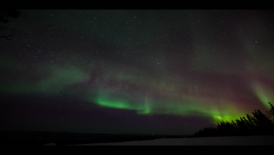 Alaska Timelapse: Very Strong Northern Lights (Aurora Borealis) With Greens And Reds