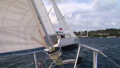 Close Focus Wide Angle Shot Of Close Race Sailing.