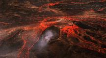 Active Volcano -Crater And Lava Flows