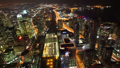4K UltraHD A timelapse aerial of traffic in Toronto, Canada at night