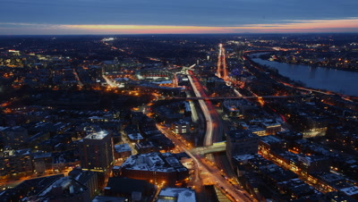 4K UltraHD A timelapse view of the Boston Skyline at night