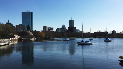 4K UltraHD View of Boston skyline with boats in foreground