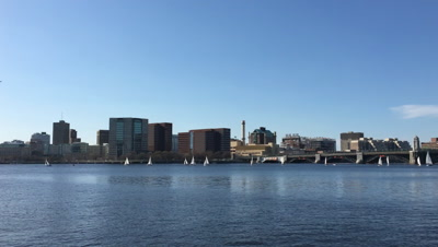 4K UltraHD View of Boston with boats in foreground