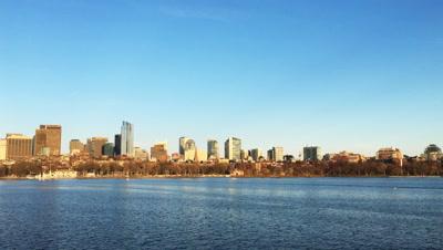 4K UltraHD View of Boston city center and harbor