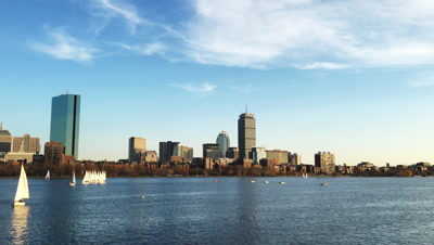 4K UltraHD View of Boston city center and the harbor