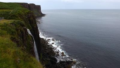 4K UltraHD Waterfall into sea, Isle of Skye, Scotland