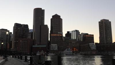4K UltraHD Timelapse at dark of the Boston city center