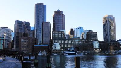 4K UltraHD Close view of the Boston city center