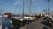 Slow Pan To Rihgt Shows Working Boats In Small Marina In DragøR, Denmark, Nice Light