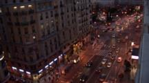 A Hi Angle Shot Of A Busy Street In Madrid Spain At Night