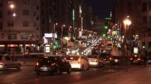 Evening Citi Traffic On Calle Gran Villa, Madrid, Spain, Tourist Attraction.