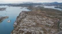 Aerials Over Northern European Cities In Nordic Countries, Fjords
