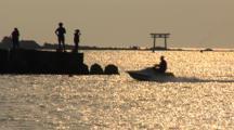 Hayama, Japan - Fisherman On Jetty In Shimmering Light, Jet Ski Pulling Skier