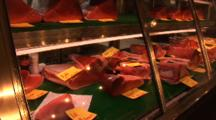 Tsukiji Fish Market, Tokyo - Bluefin Tuna Flesy Displayed For Sale In Display Cooler
