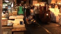 Tsukiji Fish Market, Tokyo - Whole Bluefin Tuna Travel By On People Powered Carts