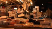 Tsukiji Fish Market, Tokyo - Low Angle Shot Of Nicely Displayed Packaged Fish For Sale