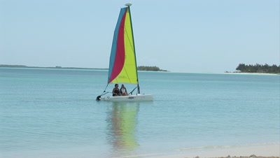 Tropical Lagoon, White Sand Beach & Launching A Sailboat - Island Paradise