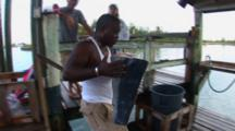 Fishing - Large Piece Of Marlin Meat Being Carried To The Fillet Table