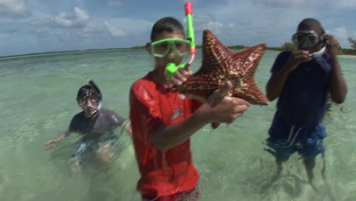 Kids Snorkel In Calm Water On Sand Bar While Participating In An Eco-Tour, One Holds Up Giant Sea Star