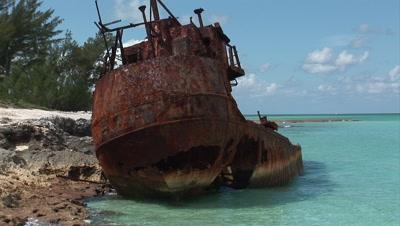 Rusty Wreck On A Bahamas Beach