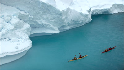 Kayakers Near Ice Arch Collapse