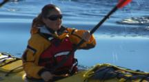 Tilt From Kayaker To Reflection In Antarctica