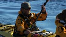 Tilt From Reflection To Kayaker In Antarctica