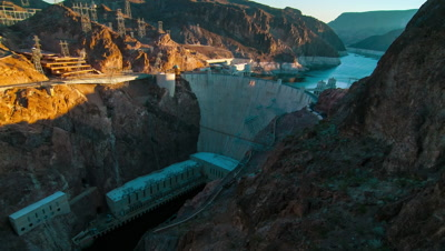 Timelapse aerial shot of Hoover Dam with lens flare