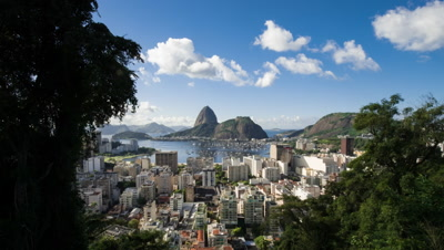 Time-lapse between trees overlooking Rio of Sugarloaf Mountain.