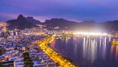 Panning time-lapse overlooking the nighttime bay of Rio de Janeiro Brazil.