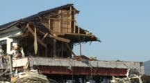 House Ripped In Half After Tsunami In Kesennuma City Japan