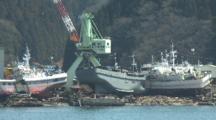 Japan Tsunami Aftermath - Ships Washed Into Port In Kesennuma City Japan