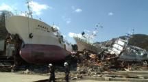 Japan Tsunami Aftermath - Ships Smashed And Washed Ashore In Kesennuma City