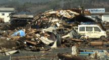 Japan Tsunami Aftermath - Debris Piled High In Kesennuma City