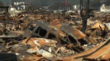 Japan Tsunami Aftermath - Wasteland Of Burnt Cars In Kesennuma City