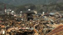 Japan Tsunami Aftermath - Burnt Out Wasteland In Kesennuma City