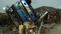 Japan Tsunami Aftermath - Destroyed Truck In Ofunato City