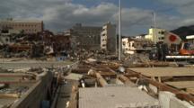 Japan Tsunami Aftermath - Japanese Flag Flies In Ruins Of Onagawa City
