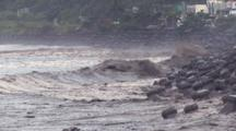Muddy Storm Surge Waves During Tropical Storm